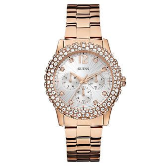 Guess Ladies' Rose Gold Plated Crystal Set Bracelet Watch - Product number 2621665