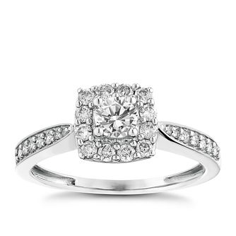 9ct white gold 1/2ct halo diamond ring - Product number 2624192