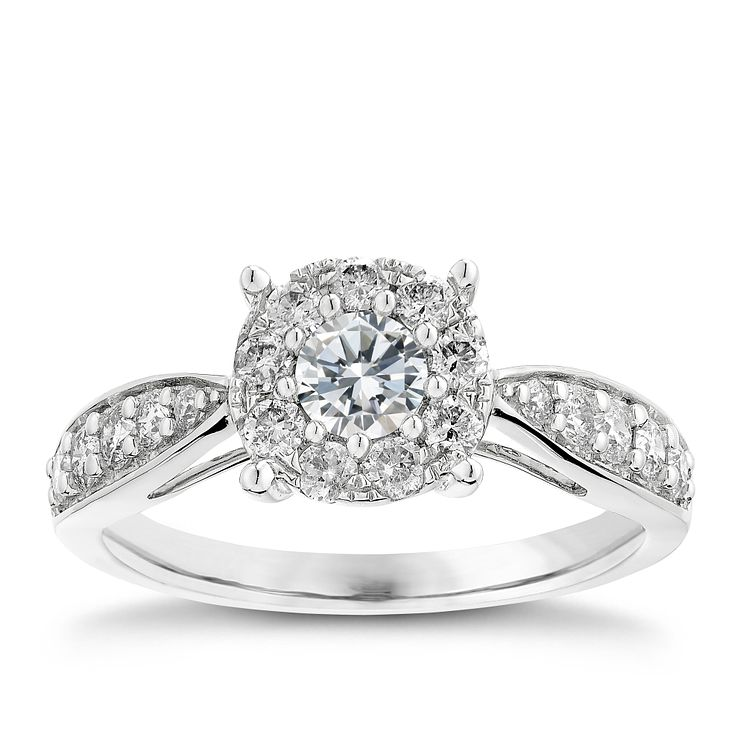 9ct white gold 0.75CT halo diamond ring - Product number 2624788