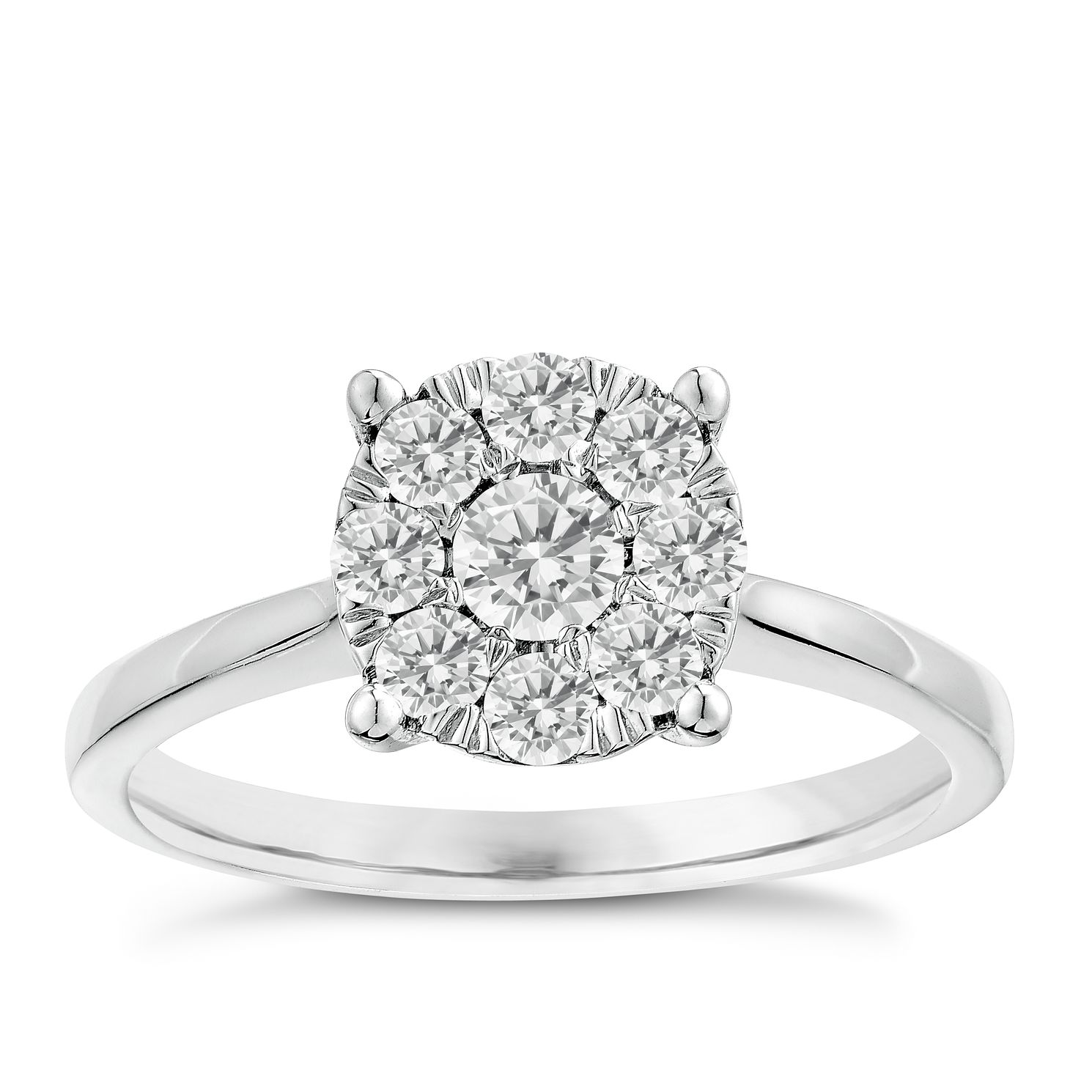 min flower wedding engagement diamond rings cluster ring