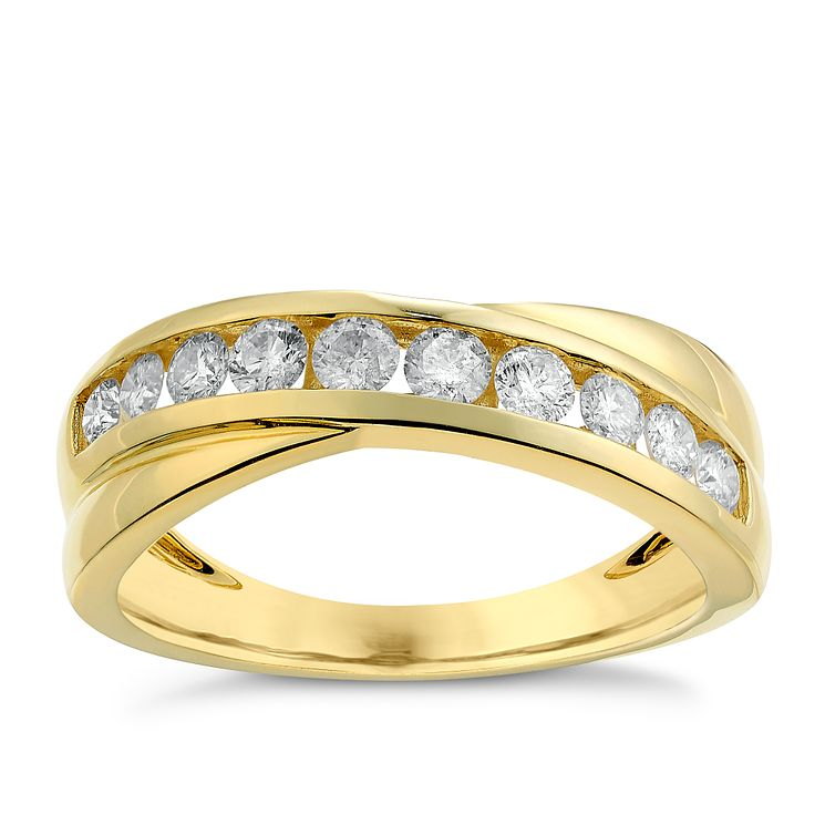 9ct yellow gold 0.50ct crossover diamond ring - Product number 2627175