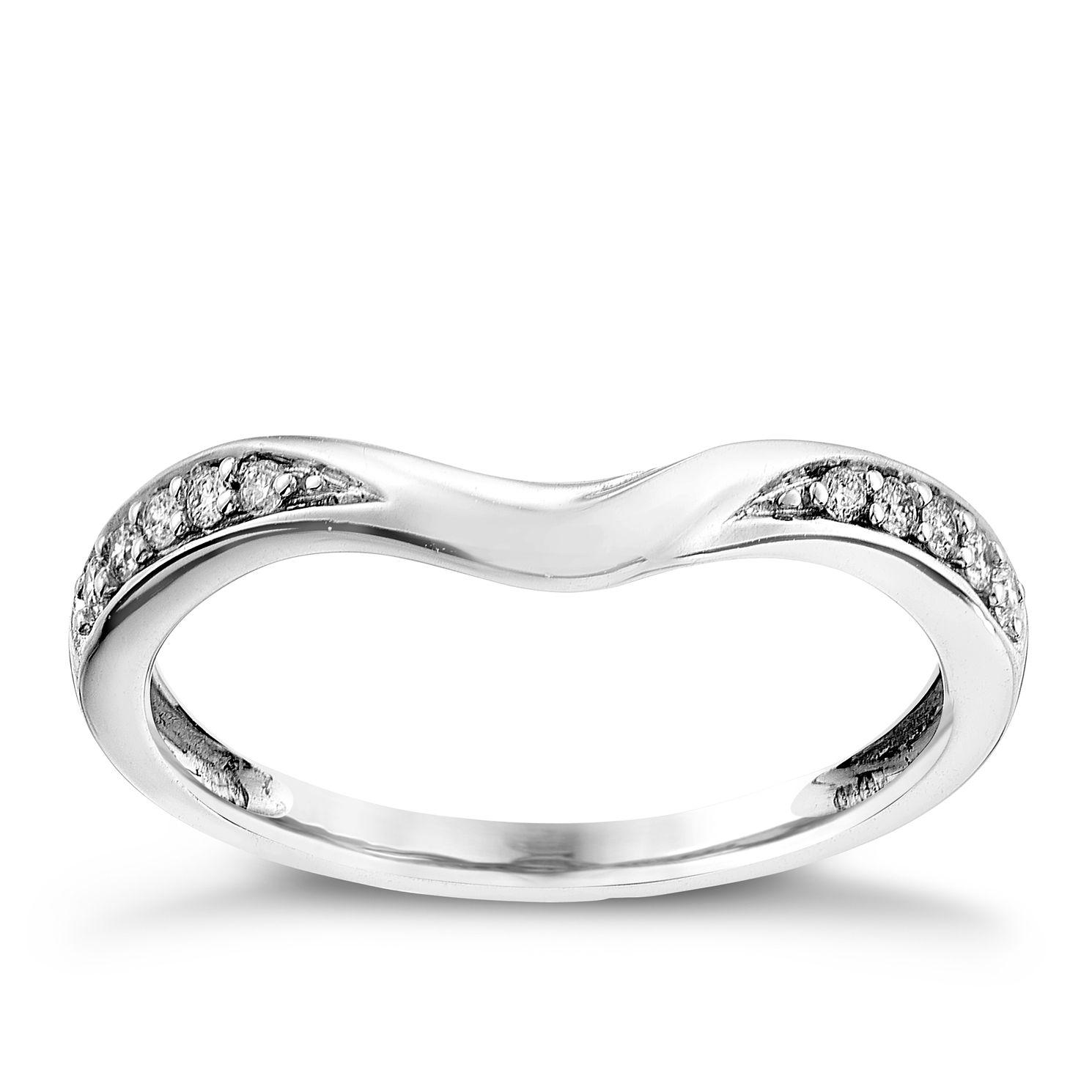 9ct white gold 010CT diamond shaped wedding ring Ernest Jones