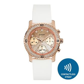 Guess Ladies' Contactless White Strap Watch - T&Cs apply - Product number 2633914