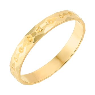 9ct Yellow Gold 2.5mm Diamond Cut Wedding Ring - Product number 2634597