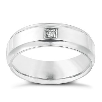 Sterling Silver Diamond Set 7mm Wedding Ring