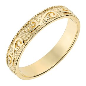 9ct Yellow Gold 4mm Swirl Pattern Wedding Ring - Product number 2636301
