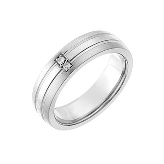 Titanium 6mm Diamond Set Matt & Polish Groove Ring - Product number 2636433