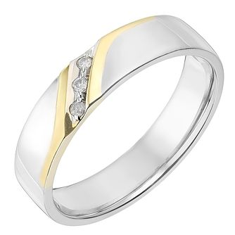Silver & 9ct Yellow Gold 5mm Diamond Set Wedding Ring - Product number 2636867