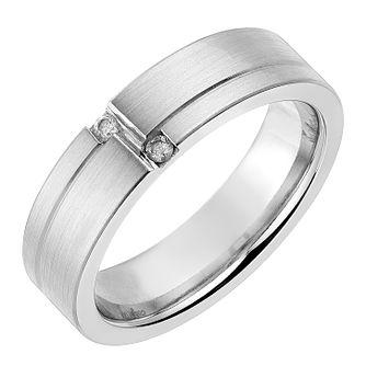 Cobalt 6mm Diamond Set Matt Polished Ring