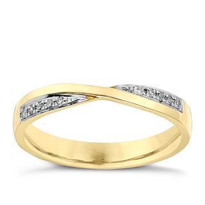 9ct Yellow Gold Crossover Diamond Set Wedding Ring - Product number 2641097
