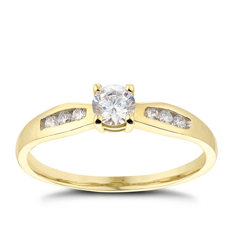 9ct Yellow Gold Cubic Zirconia Solitaire Ring - Product number 2644363