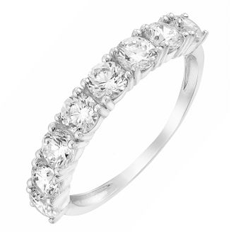 9ct White Gold Cubic Zirconia Half Set Eternity Ring - Product number 2646390