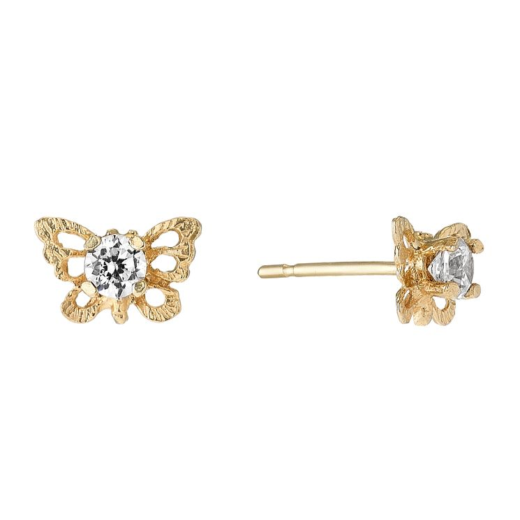 9ct Yellow Gold & Cubic Zirconia Butterfly Stud Earrings - Product number 2646730