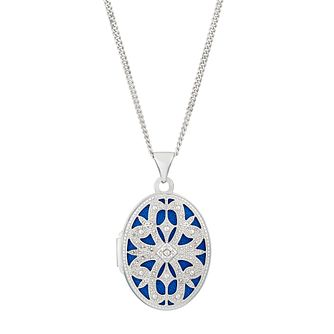 Rhodium Plated Sterling Silver Cubic Zirconia Oval Locket - Product number 2647044
