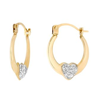 Children's 9ct Yellow Gold Crystalique Heart Creole Earrings - Product number 2647060