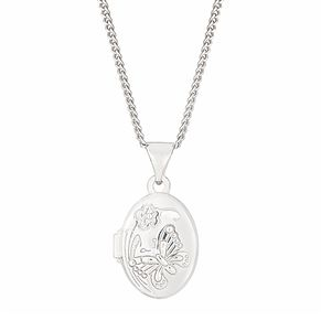 Children's Sterling Silver Butterfly Oval Locket - Product number 2647192