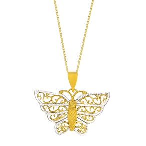 "9ct Yellow Gold & Rhodium 18"" Butterfly Pendant - Product number 2648717"