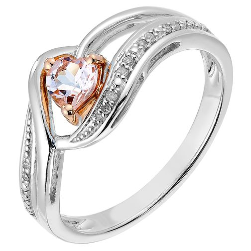 Silver & Rose Gold Diamond & Morganite Heart Ring - Product number 2770725