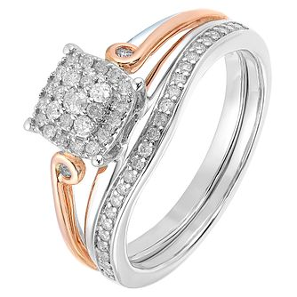 9ct White & Rose Gold 1/4ct Diamond Perfect Fit Bridal Set - Product number 2772183