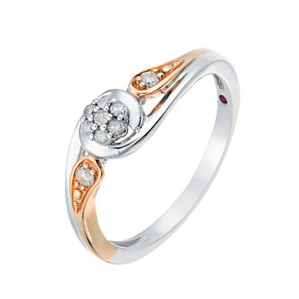 Cherished Silver & 9ct Rose Gold Round Diamond Cluster Ring - Product number 2773996