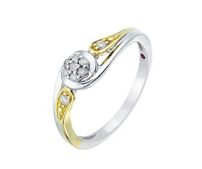 Cherished Silver & Yellow Gold Round Diamond Cluster Ring - Product number 2774127
