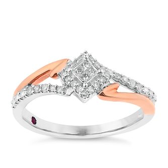 Cherished Silver & 9ct Rose Gold Square Diamond Cluster Ring - Product number 2774259