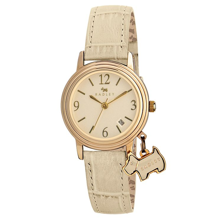 Radley Ladies' Yellow Gold Plated Blush Leather Strap Watch - Product number 2777223