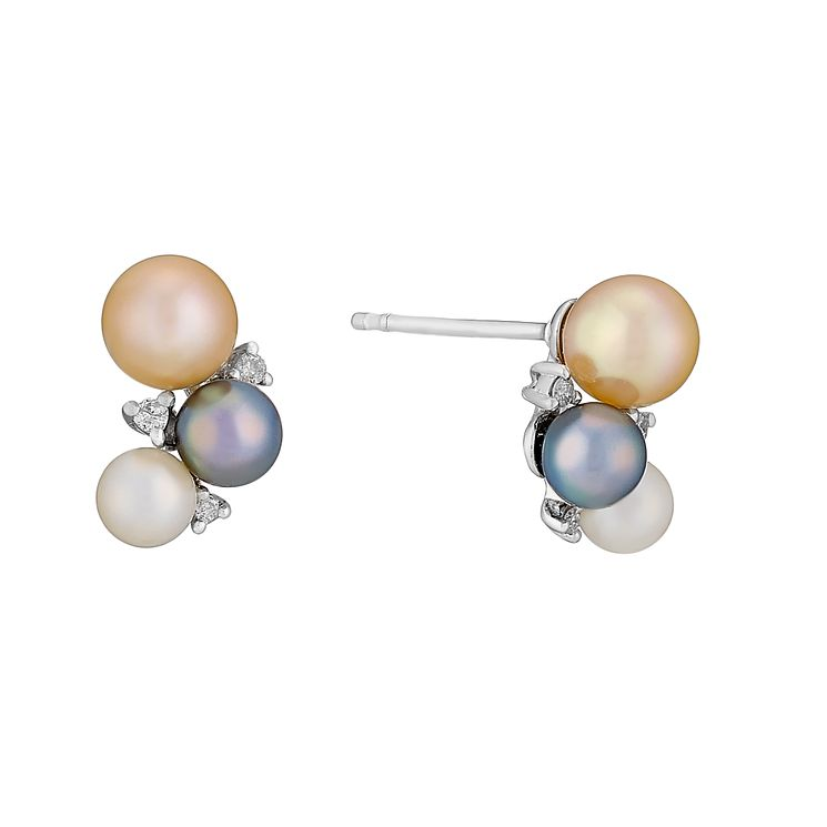 9ct white gold freshwater pearl and diamond earrings - Product number 2777924