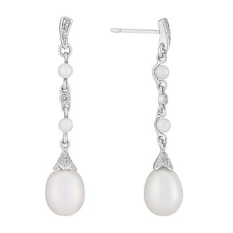 9ct White Gold Cultured Freshwater Pearl & Diamond Earrings - Product number 2777959