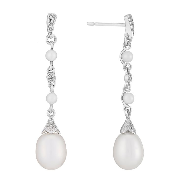 9ct white gold freshwater pearl and diamond drop earrings - Product number 2777959