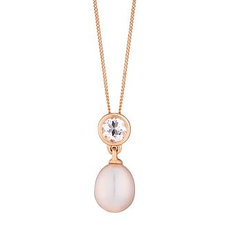 9ct rose gold freshwater pearl and morganite pendant - Product number 2778106