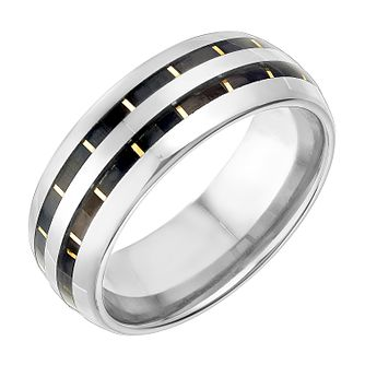 Tungsten 8mm Grey and Yellow Gold Tone Inlay Ring - Product number 2782278