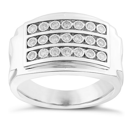 Sterling Silver & 1/4 Carat Diamond Triple Row Signet Ring - Product number 2783193