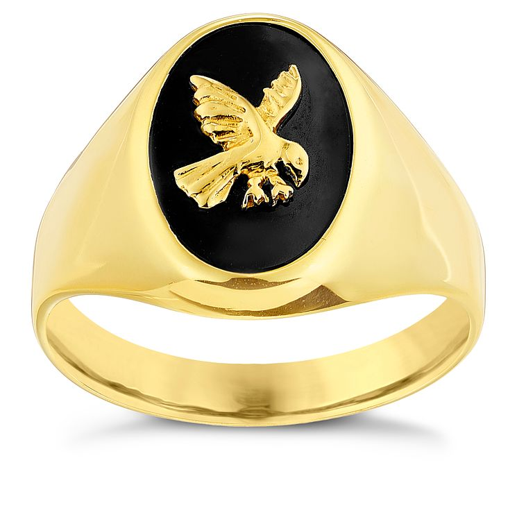9ct Yellow Gold & yx Eagle Detail Signet Ring