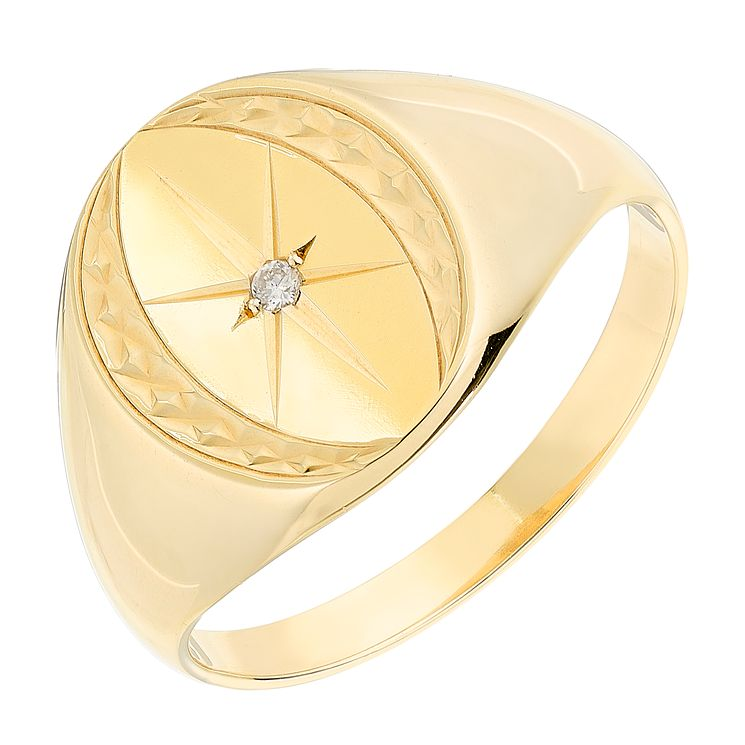 9ct Yellow Gold Diamond Set Oval Star Signet Ring - Product number 2784262