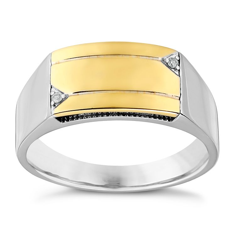 Sterling Silver & 9ct Yellow Gold Diamond Set Signet Ring - Product number 2785447