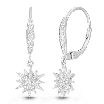 Neil Lane Silver 1/10ct Diamond Star Drop Earrings - Product number 2787636