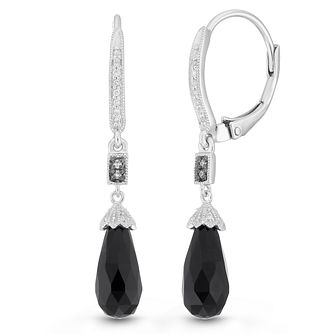 Neil Lane Designs Silver Diamond & Onyx Drop Earrings - Product number 2787695