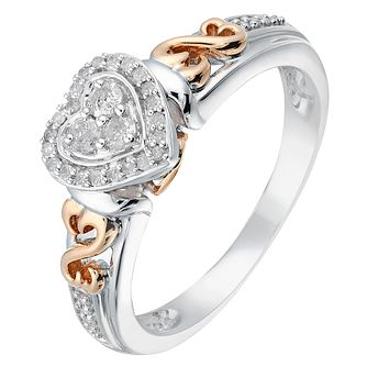Open Hearts Silver & 9ct Rose Gold Diamond Ring - Product number 2789035