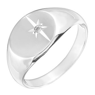 Sterling Silver Diamond Set Signet Ring - Product number 2793237