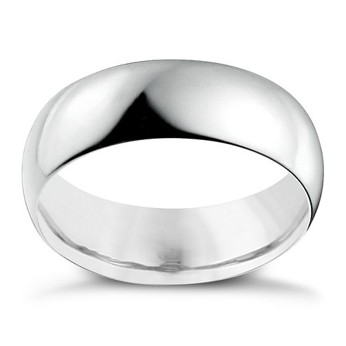 18ct White Gold 7mm Extra Heavy D Shape Ring - Product number 2804360