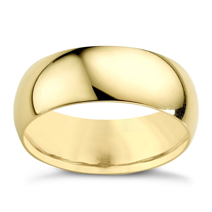 18ct Yellow Gold 7mm Extra Heavy D Shape Ring - Product number 2808927