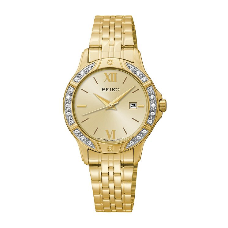 Seiko Ladies' Yellow Gold Plated Swarovski Elements Watch - Product number 2825392