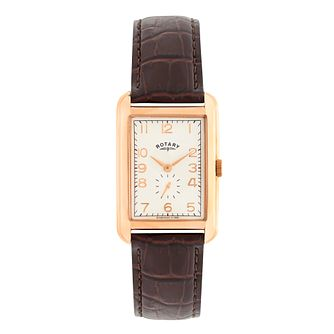 Rotary Men's Rectangular Dial Brown Leather Strap Watch - Product number 2826879