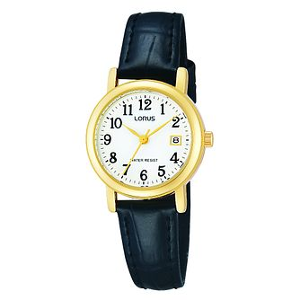 Lorus Ladies' Yellow Gold Plate & Black Leather Strap Watch - Product number 2828170