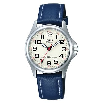 Lorus Ladies' Stainless Steel & Blue Leather Strap Watch - Product number 2828197