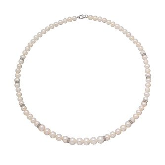 9ct white gold certified cultured freshwater pearl necklace - Product number 2828456