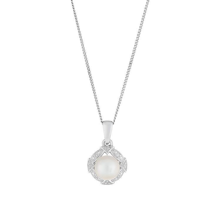 9ct white gold & certified cultured freshwater pearl pendant - Product number 2828464