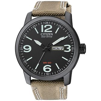 Citizen Eco-Drive Men's Black Ion Plated Strap Watch - Product number 2829835