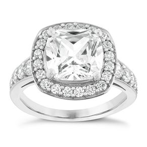 Silver And Cushion Cut Cubic Zirconia Halo Ring - Product number 2830558